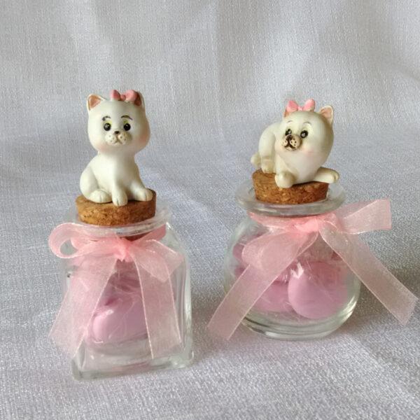 barattolino con gattino rosa