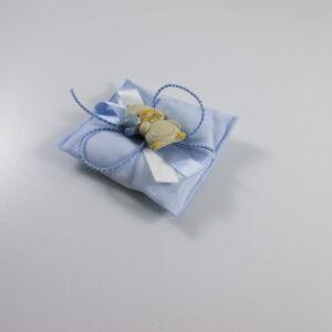cuscino battesimo azzurro con pinguino