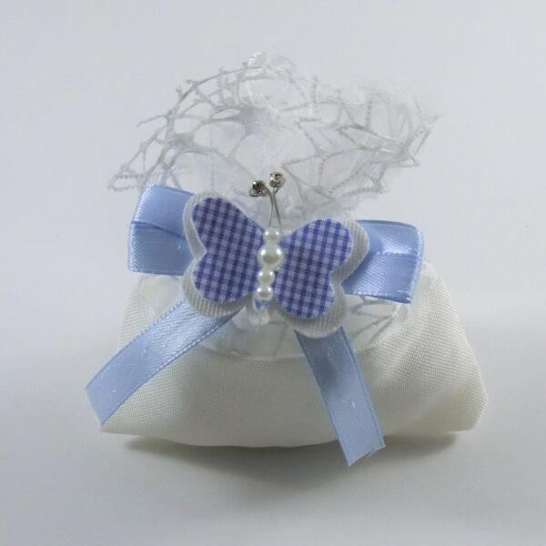 Sacchetto battesimo con farfalla azzurra
