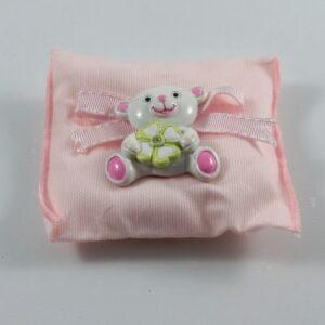 cuscino portaconfetti battesimo rosa