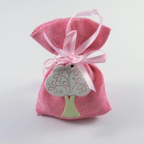 Sacchetto con albero della vita rosa