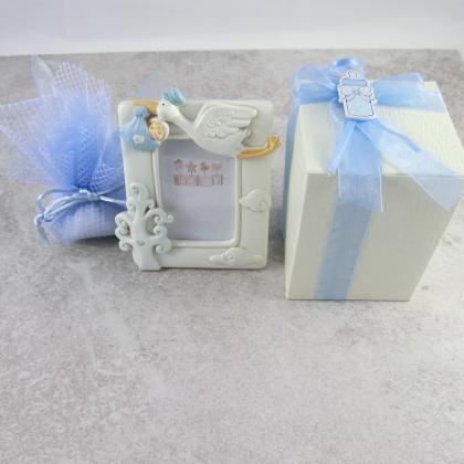 portafoto con scatola e sacchetto azzurro