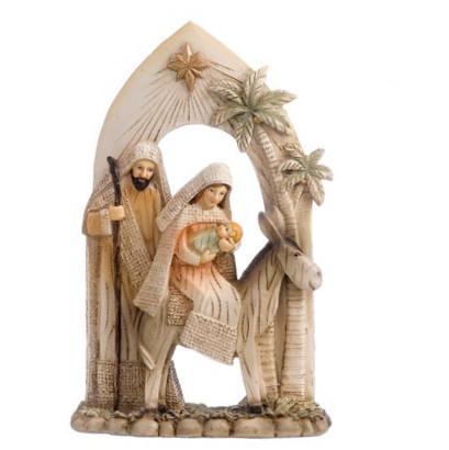 natività in resina con arco e palme