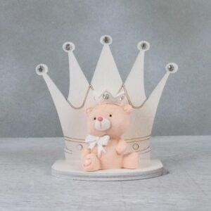 bomboniere corona battesimo bimba rosa
