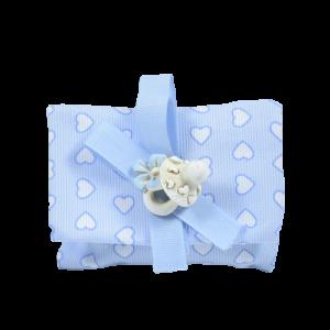 bomboniera battesimo bimbo con ciuccio bianco azzurro
