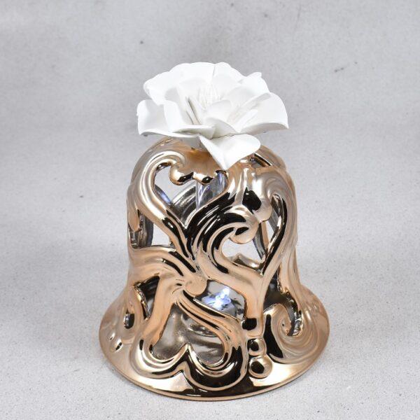 Bomboniera campane con fiore in gesso Claraluna