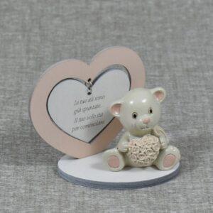 bomboniera orsetto rosa con cuore