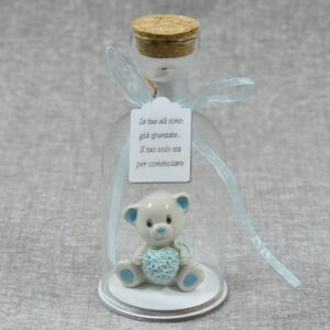 bomboniera battesimo bottiglia con orsetto luce led
