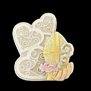 Bomboniera Cresima icona con intreccio di cuori