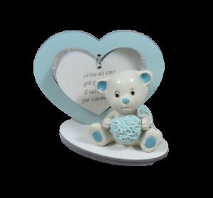 Bomboniera cuore legno con orsetto azzurro