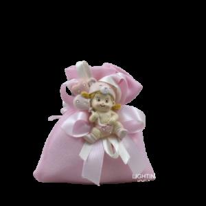 sacchetto rosa con bimba magnete