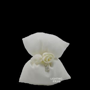 bomboniera matrimonio fiocco con confetti avorio