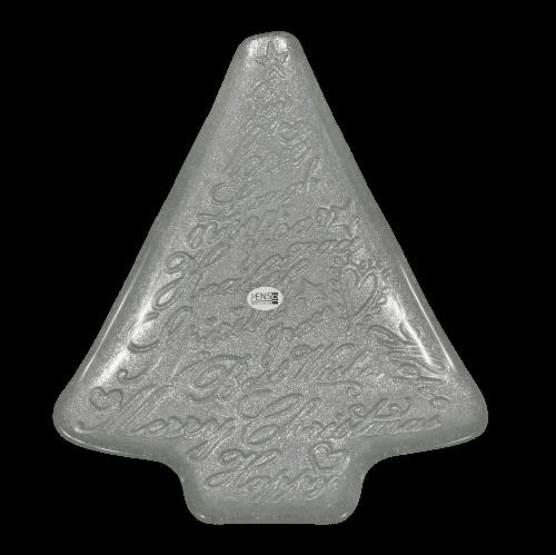 Piatto argento in vetro grande scritte natalizie