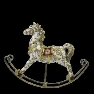 cavallo a dondolo con decorazioni dorate