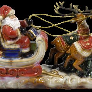Babbo Natale su slitta con renne