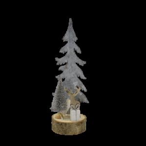 Albero in metallo legno renna pacco regalo
