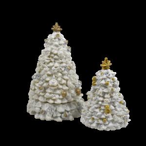 Carillon alberi di natale bianco oro