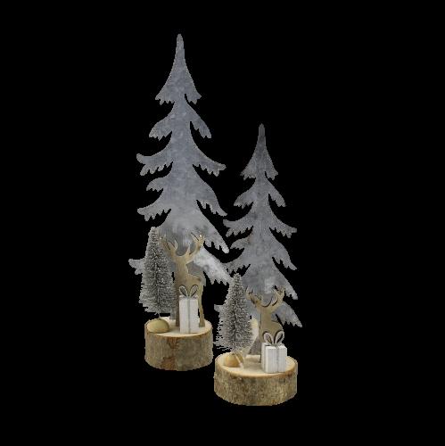 alberi in metallo con glitter argento