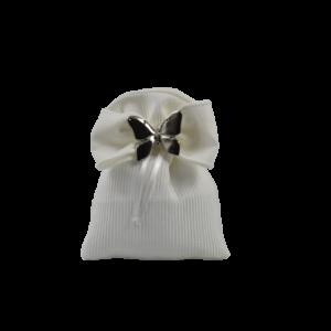 saccchetto portaconfetti con farfalla in metallo